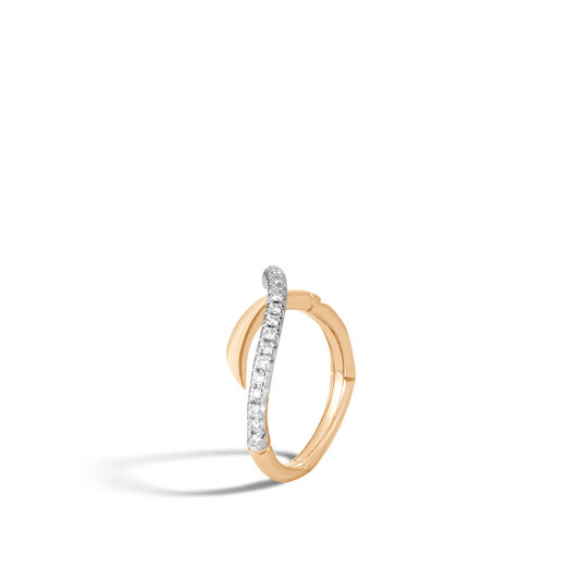 Bamboo Ring in 18K Gold with Diamonds, White Diamond, large