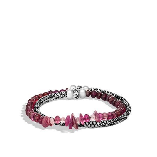 Classic Chain 5MM Double Wrap Bracelet in Silver with Gemstone, Pink Tourmaline, large