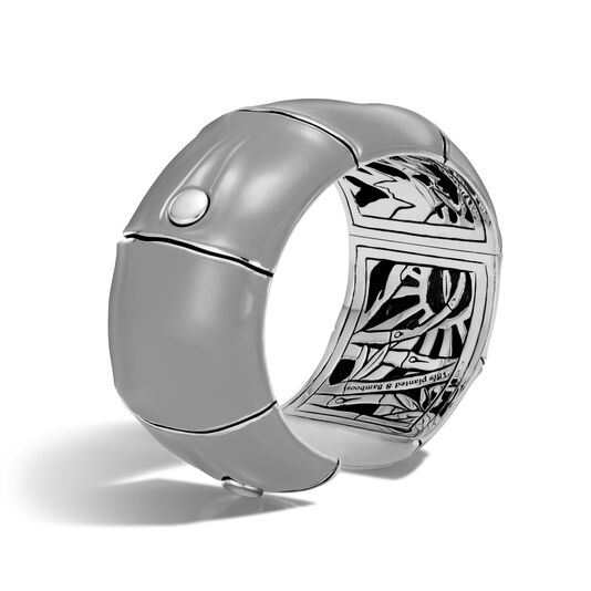 Bamboo 32MM Kick Cuff in Silver and Enamel, , large