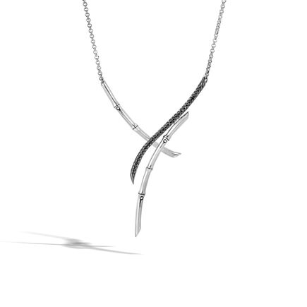 Bamboo Necklace in Silver with Gemstone
