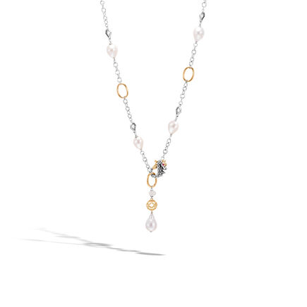 Legends Naga Station Necklace, Silver, 18K Gold, Pearl,Gems