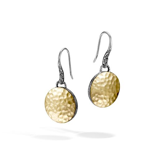 Dot Drop Earring in Silver and Hammered 18K Gold, , large