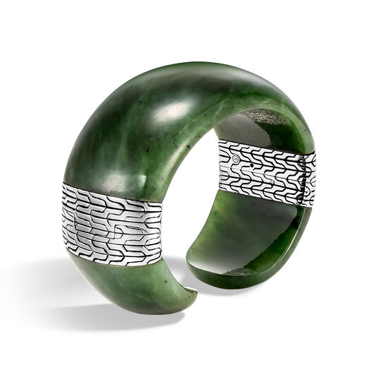 Classic Chain Cuff in Silver with Gemstone, Green Jade, large