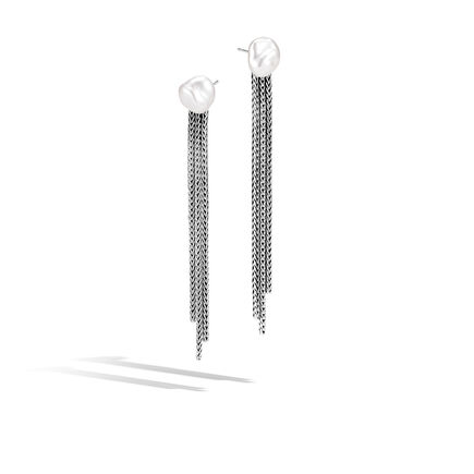 Classic Chain Drop Earring in Silver with Gemstone