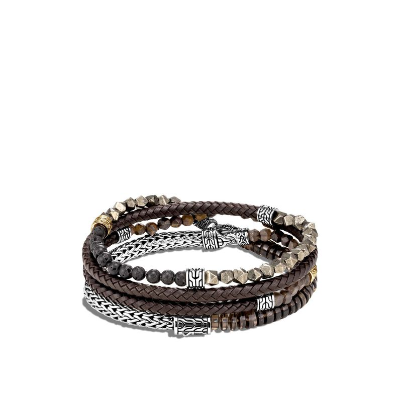 Classic Chain Wrap Bracelet, Silver, 18K Gold, Smoky Quartz, large