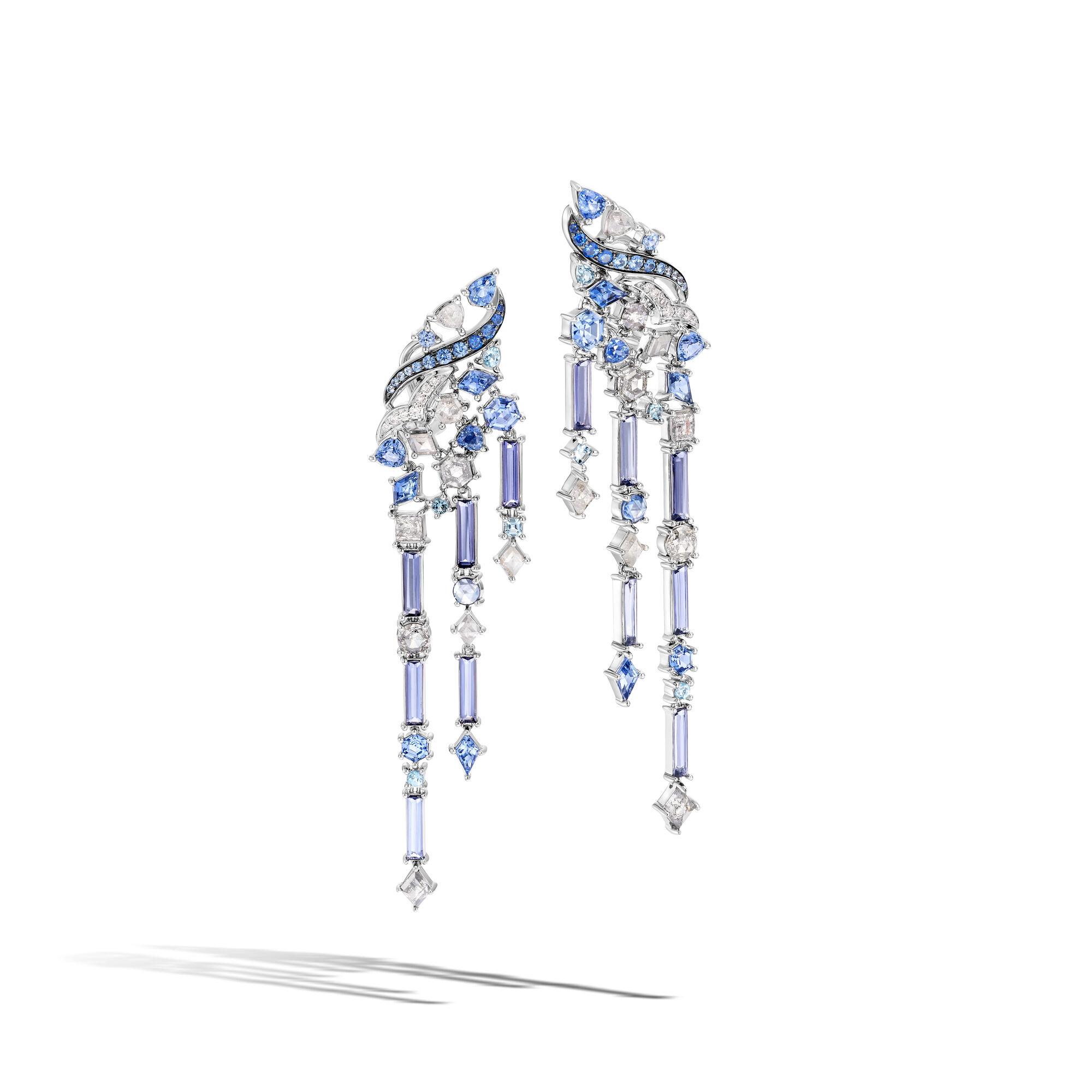 Tangga Surgawi Lahar Earring, Blue Sapphire, large