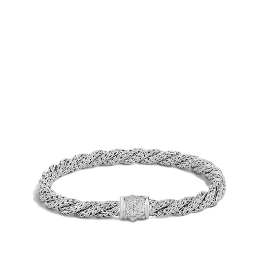 Twisted Chain 5.5MM Bracelet in Silver with Diamonds, White Diamond, large