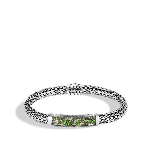 Classic Chain 6.5MM Station Bracelet in Silver with Gemstone, Green Tourmaline, large