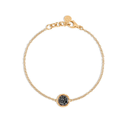 Classic Chain Round Station Bracelet in 18K Gold with Gemstone