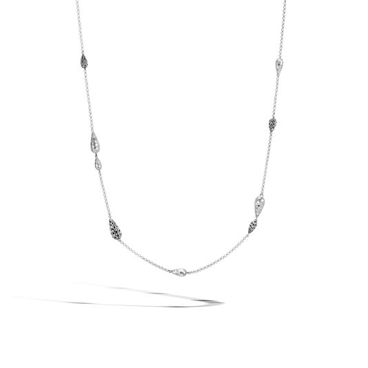 Classic Chain Station Necklace in Hammered Silver, , large