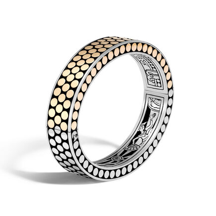 Dot 12.5MM Hinged Bangle in Silver and 18K Gold