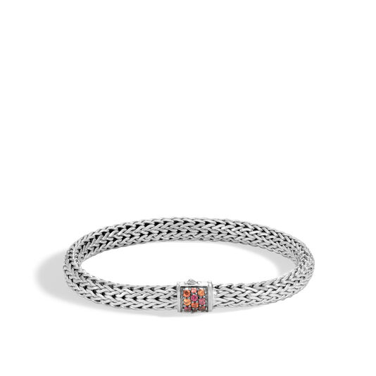 Classic Chain 6.5MM Bracelet in Silver with Gemstone, Garnet, large
