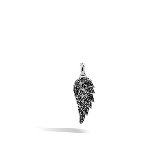 Legends Eagle Pendant in Silver with Gemstone, Black Sapphire, large