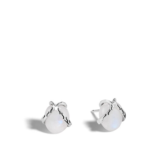 Classic Chain Stud Earring In Silver with 8MM Gemstone, Milky Rainbow Moonstone, large