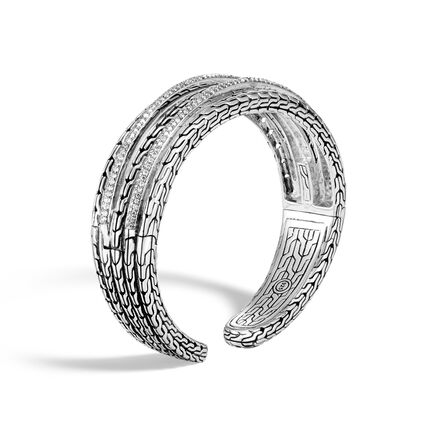 Classic Chain 19MM Cuff in Silver with Diamonds