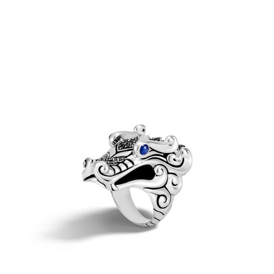 Legends Naga Ring in Silver with Gemstone, Black Spinel, large
