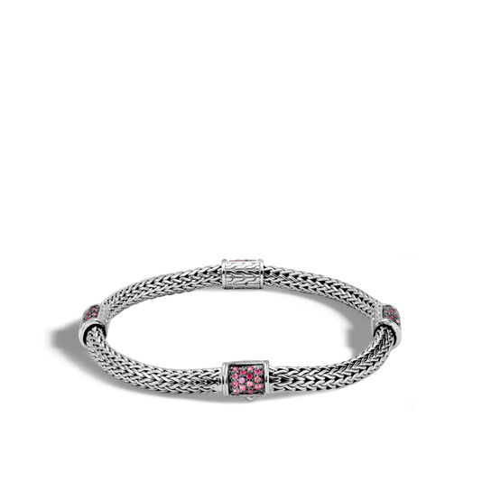 Classic Chain 5MM Bracelet in Silver with Gemstone, Red Spinel, large
