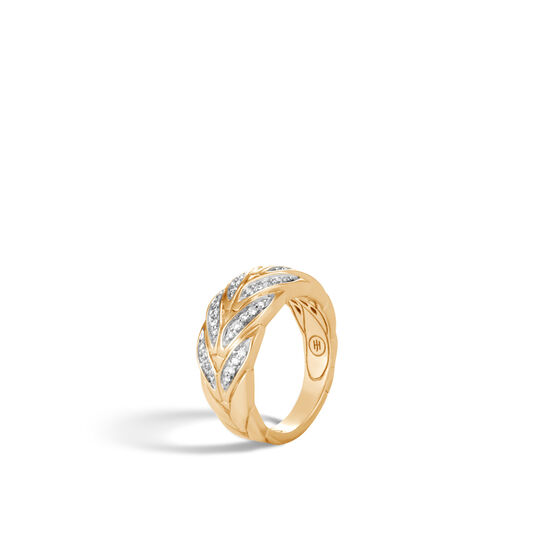 Modern Chain Ring in 18K Gold with Diamonds, White Diamond, large