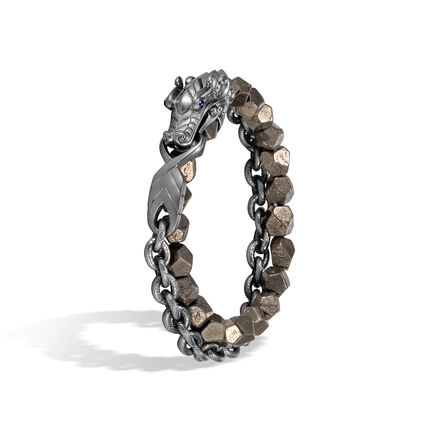 Legends Naga Double Wrap Bracelet, Blackened Silver, 8MM Gem