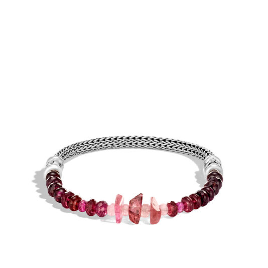 Classic Chain 5MM Bracelet in Silver with Gemstone, Pink Tourmaline, large