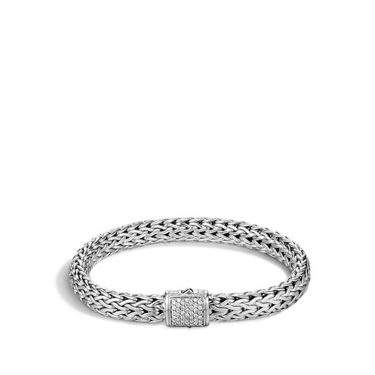 Classic Chain 7.5MM Bracelet in Silver with Diamonds, , large