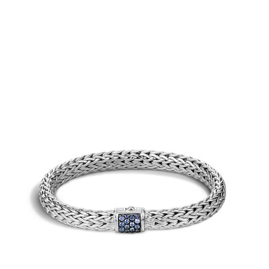 Classic Chain 7.5MM Bracelet in Silver with Gemstone, Blue Sapphire, large