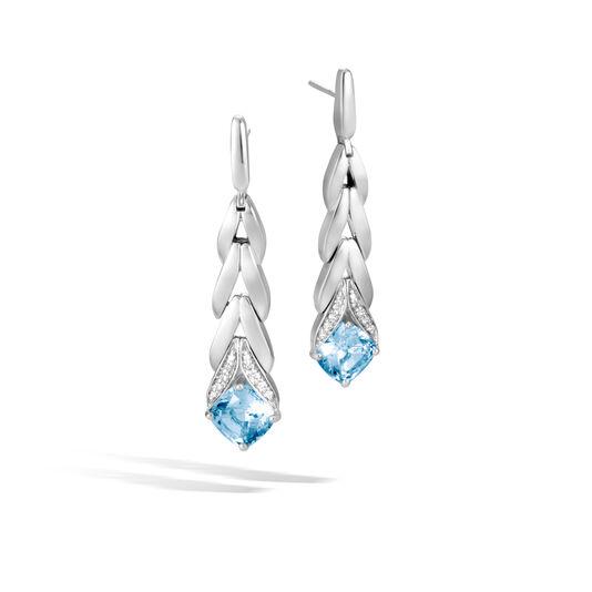 Modern Chain Magic Cut Drop Earring, Silver, Gemstone, Dia, London Blue Topaz, large