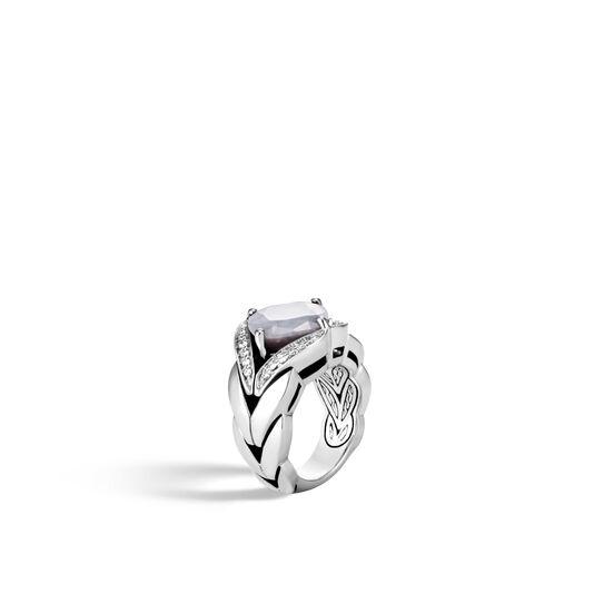 Modern Chain Magic Cut Ring, Silver, 12MM Gemstone, Diamonds, Silver Sheen Sapphire, large
