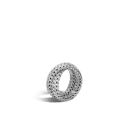 Classic Chain Overlap Ring in Silver