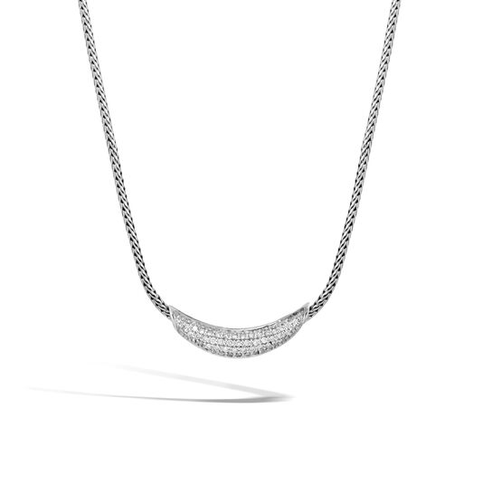 Classic Chain Necklace in Silver with Diamonds, White Diamond, large