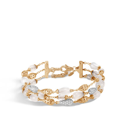 Classic Chain Multi Row Bracelet, 18K, Gemstone, Diamonds