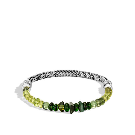 Classic Chain 5MM Bracelet in Silver with Gemstone, Chrome Tourmaline, large