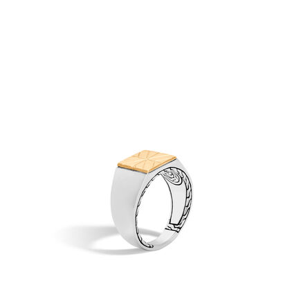 Modern Chain Signet Ring in Silver and 18K Gold