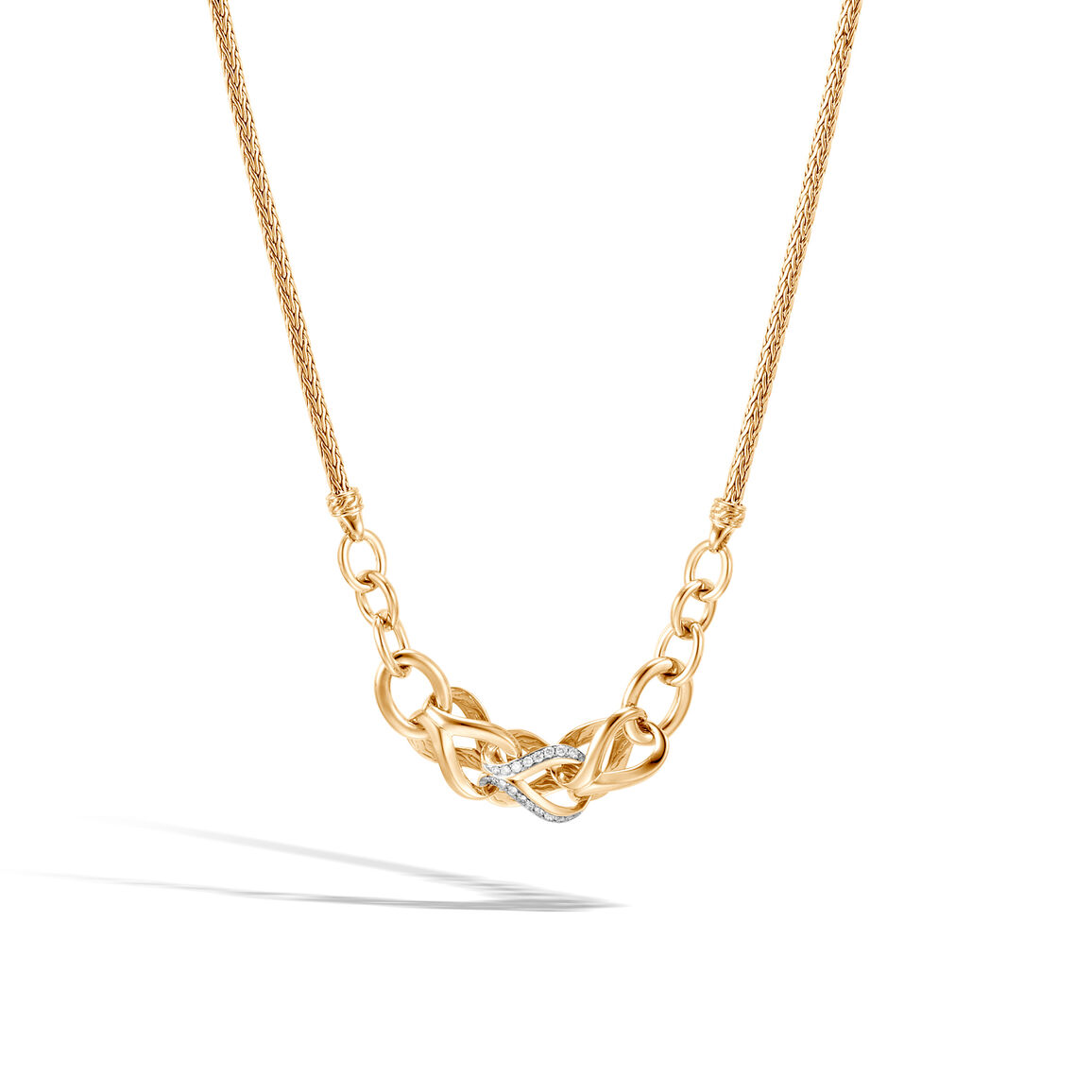 Asli Classic Chain Link Station Necklace in 18K Gold with Dia