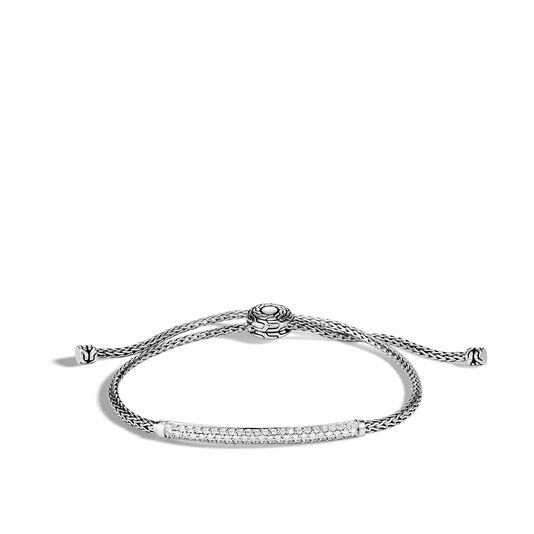 Classic Chain Station Pull Through Bracelet, Silver, Diamond, White Diamond, large