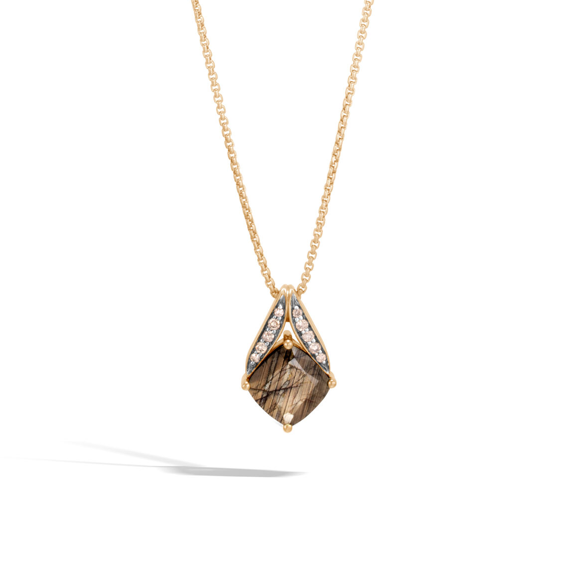 Modern Chain Magic Cut Pendant Necklace, 18K Gold, Gem, Dia