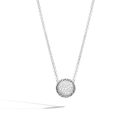 Classic Chain Round Necklace in Silver with Diamonds
