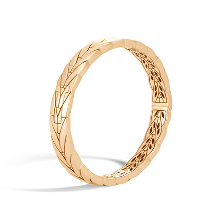 Modern Chain 8MM Hinged Bangle in 18K Gold