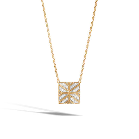 Modern Chain Pendant Necklace in 18K Gold with Diamonds, White Diamond, large