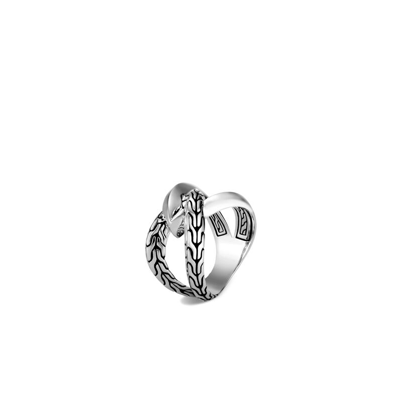 Classic Chain Knife Edge Ring in Silver, , large