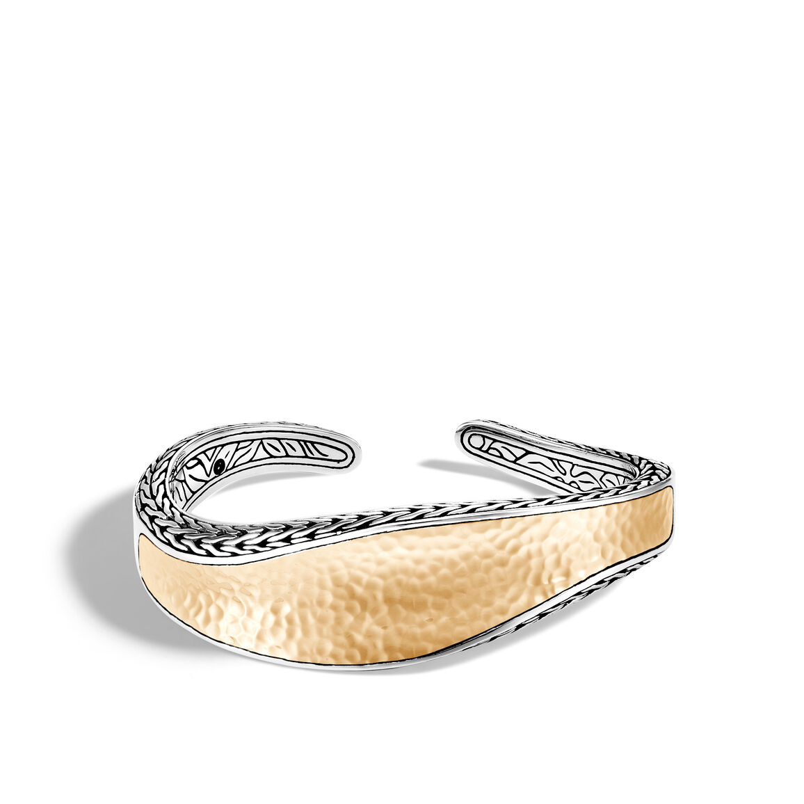 Classic Chain Wave 21MM Kick Cuff in Silver and Hammered 18K Gold