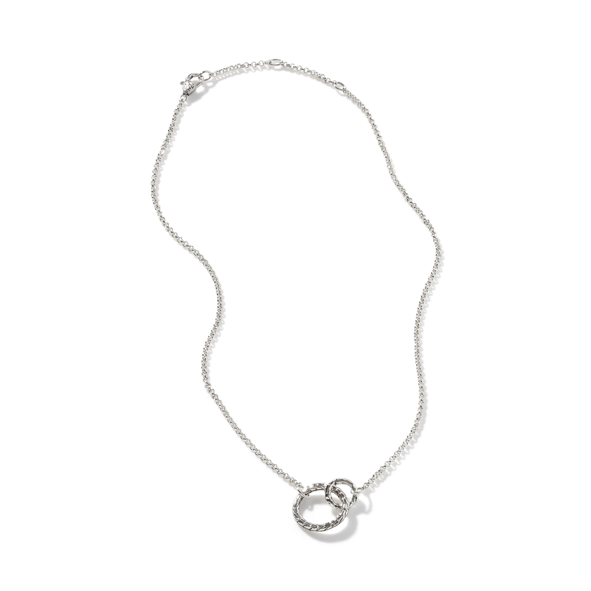 Classic Chain Interlinking Necklace in Hammered Silver, , large