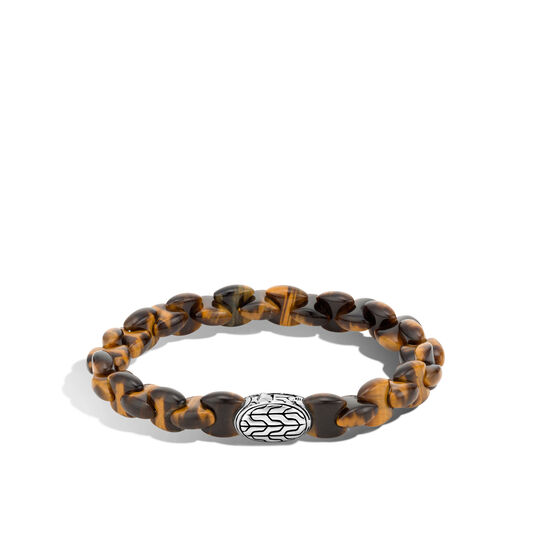 Classic Chain Bead Bracelet in Silver, Brown Tiger Eye, large