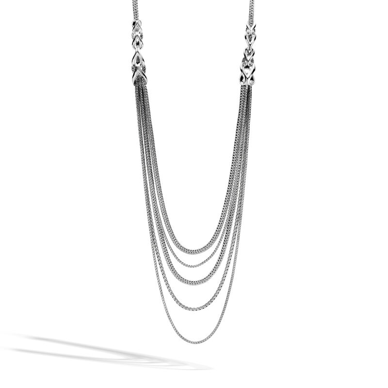 Asli Classic Chain Link Transformable Bib Necklace in Silver, , large