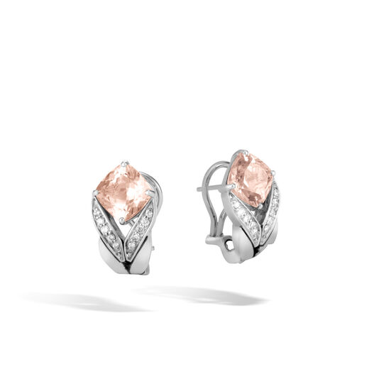 Modern Chain Magic Cut Earring in Silver, Gemstone and Dia, Champagne Topaz, large