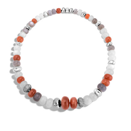 Bamboo Necklace in Silver with Gemstone and Diamonds
