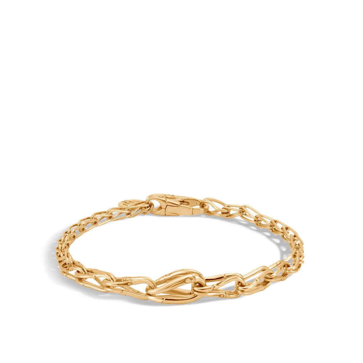 Bamboo 6MM Graduated Link Bracelet in 18K Gold