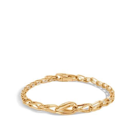 Bamboo 6MM Graduated Link Bracelet in 18K Gold, , large