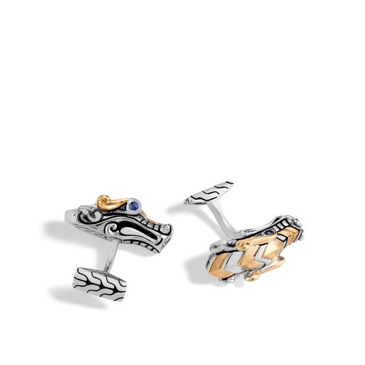 Legends Naga Cufflinks in Silver and Brushed 18K Gold, Blue Sapphire, large