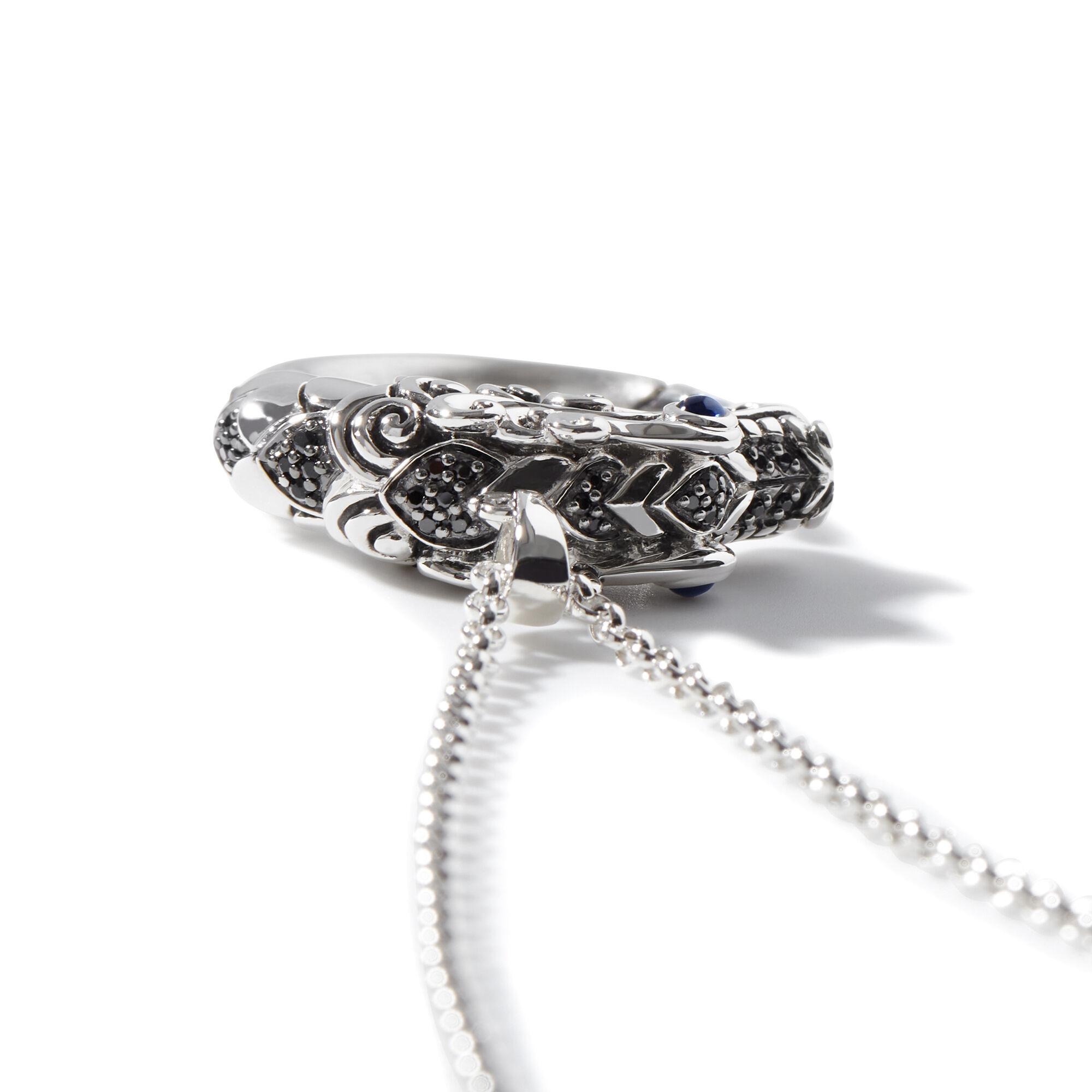 Legends Naga Pendant Necklace, Brushed Silver, , large